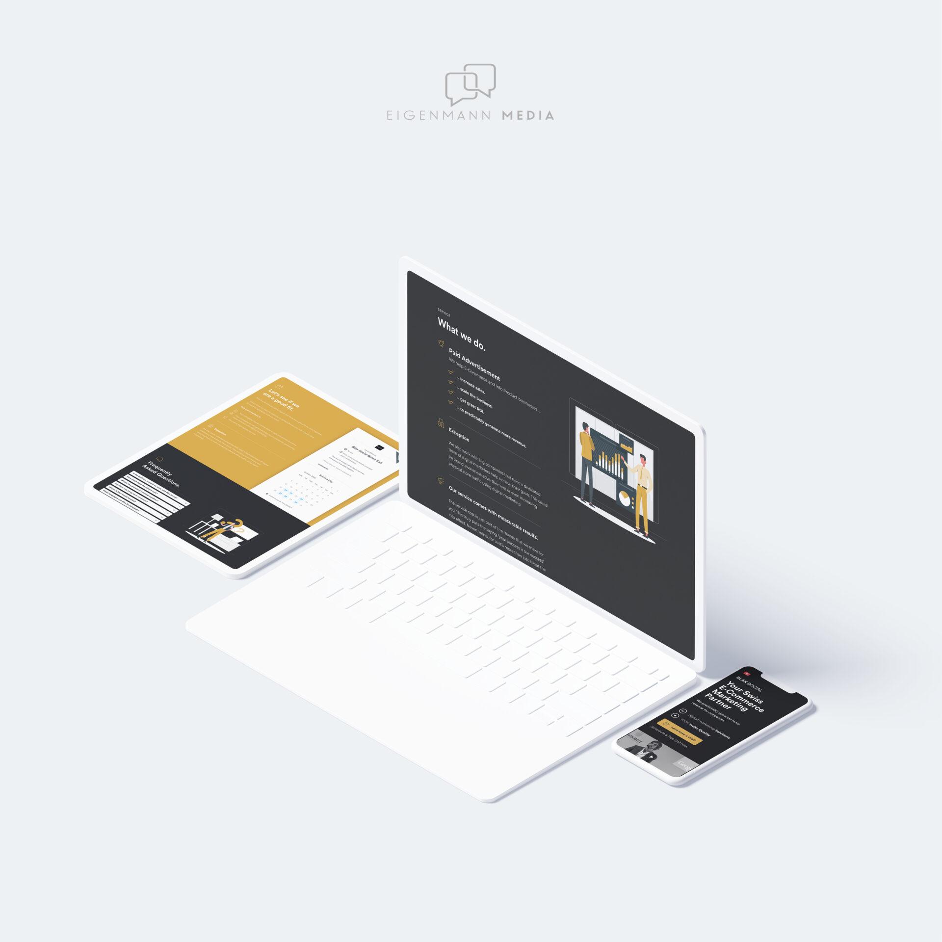 Blax Social Webseite Responsive Design