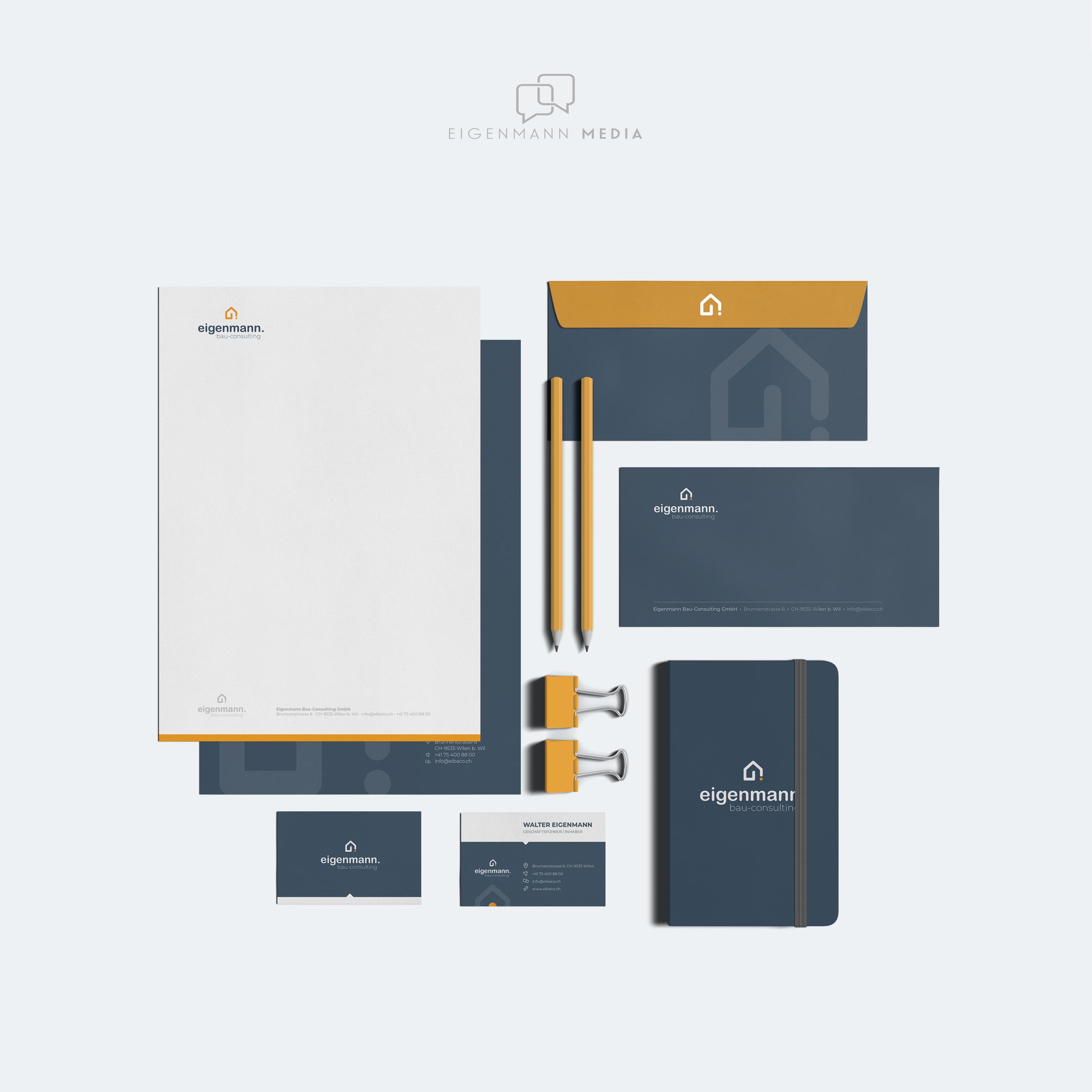 Eigenmann Bau-Consulting GmbH Logo, Briefpapier, Visitenkarten und Notizblock