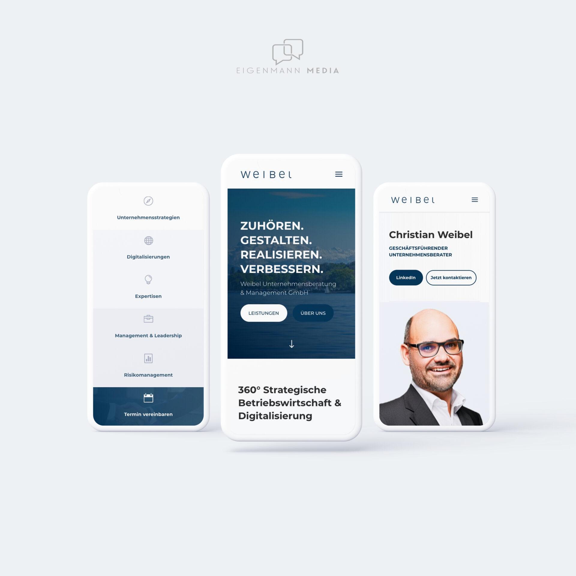 Weibel Unternehmensberatung & Management GmbH Webseite EIGENMANN MEDIA